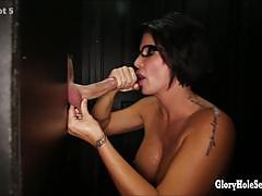 Luscious babe shay fox swallows hard cock