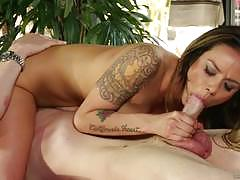Nadia styles sucking cock on the massage table