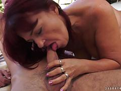 Mature woman gets herself some fresh cock to play with