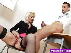 Blonde babe devours this hard cock