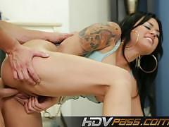 Sexy eva angelina rides this hard cock
