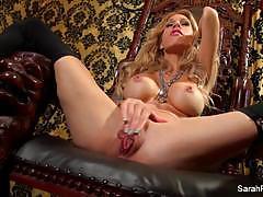 Hottie sarah jessie plays with her moist pussy
