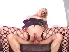 Lingerie clad blonde gets her ass hammered