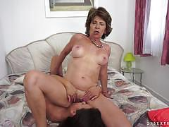 Mature woman having lesbian fun with anina silk