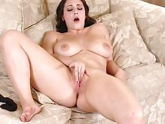 noelle easton, brunette, big tits, lingerie, shaved, masturbation