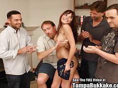 Horny teen brunette gets into bukkake bunch