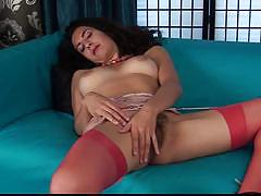 Brunette shows her hairy pussy