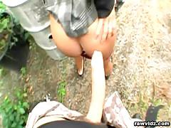 Czech slut ass fingered and banged outdoors