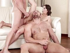 Brunette and her boyfriend bring more cock into the fun