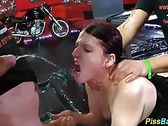 Brunette skank gets a golden shower