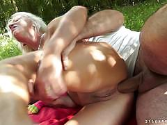 Mature blonde anal fucked in the backyard