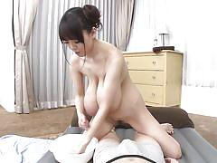 Big breasted beauty massages her man