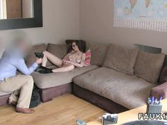 Dirty nerd girl in stockings gets her pussy fingered on a couch