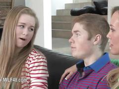 Perfect mom gag teenager and her boyfriend