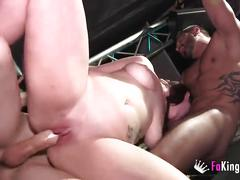 amateur, big tits, reality, threesome, 3some, big-boobs, chubby, tattoo, public, flash, brunette, handjob, big-dick, deepthroat, blowjob, riding, booty, shaved, tight