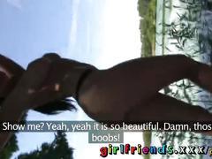 Girlfriends stunning babes flirt outside then home to make sextape