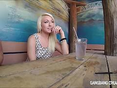 Wild teen babe gets a gangbang