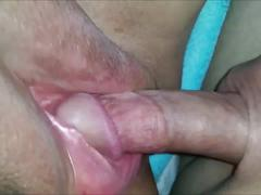 Bbw having fun with his cock and her hitachi.