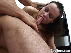 Nasty brunette gags on this stiff shaft