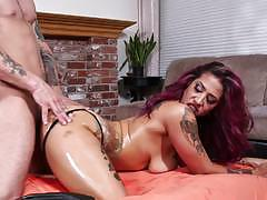 joanna angel, veronica rose, blowjob, doggystyle, tattoo, cumshot, facial, shaved, reverse cowgirl, oil, punk, sucking