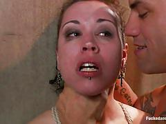 small tits, bdsm, hanging, tattooed, mouth fuck, brunette babe, rope bondage, sex dungeon, standing sex, dungeon sex, kink, elizabeth thorn, derrick pierce