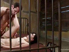 small tits, bdsm, hairy, rough sex, spread legs, brunette babe, rope bondage, sex dungeon, sideways anal, dungeon sex, kink, juliette march, maestro
