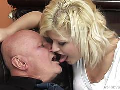 kitty rich, blowjob, doggystyle, cumshot, facial, blonde, shaved, sofa, bent over, fat, doggy, 69, old man, cock suck, grandpa, sucking, grandad