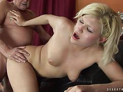 Cute blonde kitty rich nailed by an old man