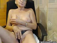 Topless grandma being a tease