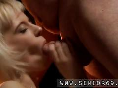 Sexy blonde tart licking a old dudes dick and riding him hardcore