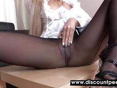 Sexy blonde strips from pee soaked pantyhose