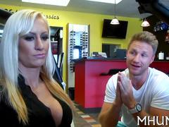 Big tits blonde in panties getting her milf pussy mangled
