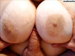 My wife milking my dick with her huge naturals