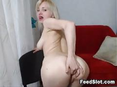 Blonde cam girl plays with her pussy and ass