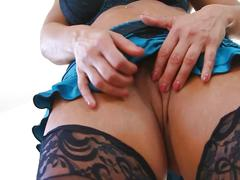 Extremely hot milf throated really hard by her lover on the couch