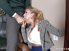 big tits, blowjob, office sex, from behind, undressing, blonde milf, pussy rubbing, at work, big tits at work, brazzers network, cherie deville, johnny sins