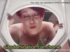 redhead, pov, humiliation, shorthair, slave, pee, toilet, piss, femdom, sashaknox
