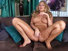 lexi lowe, big tits, blonde, masturbation, heels, fingering, solo, strip, naked, masturbate