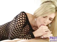 Tight blonde amanda tate rubs her client huge cock in the milking table