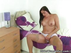 big tits, masturbation, toys, milf, olderwomanfun, brunette, amateur, teasing, stripping, thick, big-butt, pantyhose, big-boobs, shaved, solo-girl, masturbate