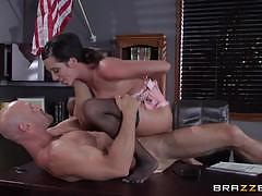 ariella ferrera, blowjob, riding, big tits, cumshot, facial, glasses, desk, office, reverse cowgirl, stockings, cowgirl, pussy licking, prison, sucking