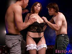asian, blowjob, lingerie, babe, stockings, oral, gorgeous, japanese, beauty, mmf, closeup