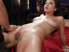 Naughty brunette gets bonded and fucked