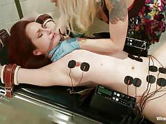 bound, lesbian domination, vibrator, blonde milf, fingering pussy, redhead babe, electrodes, nipple clamps, electro bdsm, wired pussy, kink, lorelei lee, phoenix askani