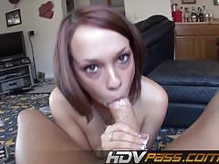 Sensual haley sweet stuffs her mouth with hard cock