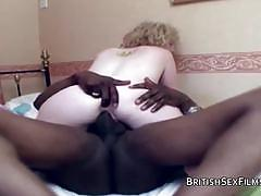Horny pale blonde cum guzzler loves black cock