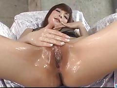 Dildo makes her pussy soaking wet