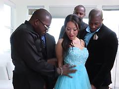 Asian hottie asa akira takes a group of big black dicks