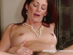 Hot and hairy milf alicia silver sucks a fake cock