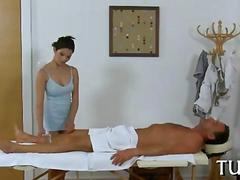 She massages him and he loves the whole process